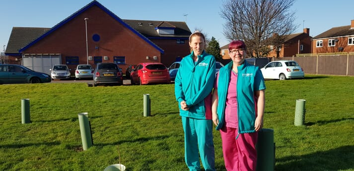 Charlotte Chappell (left) and Laura Borrini (right), vet and vet nurse at PDSA's Kirkdale hospital, led the creation of a wildlife area at the hospital
