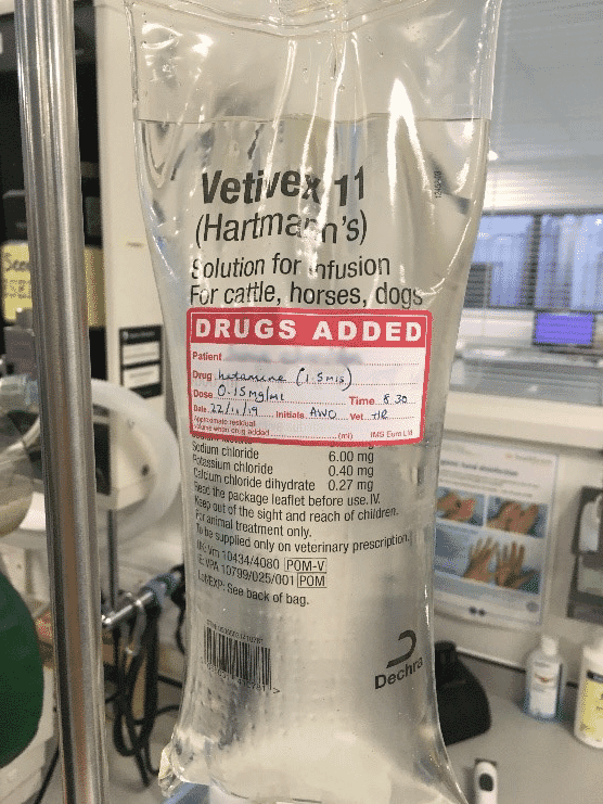 FIGURE (1) A constant rate infusion of ketamine can be added to intravenous fluid therapy