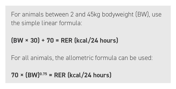 BOX (1) The patient's resting energy requirement (RER) should be calculated daily based on the patient's weight