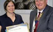 The Harrogate Vet won the President's Award for outstanding front-of-house design. Left to right: Katherine Jacklin and Martin Smith (BVHA) thumbnail
