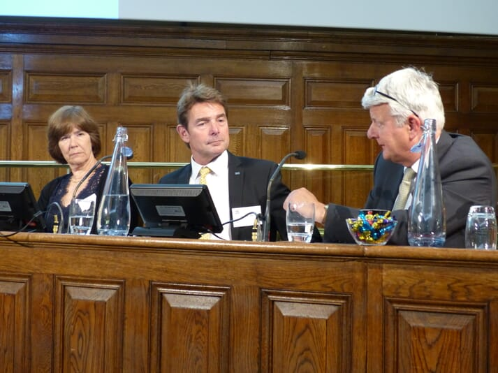 "Sarah Wolfensohn, Simon Wheeler and Stuart Carmichael (left to right) took part in ""The Big Debate"" on insurance and quality of life"